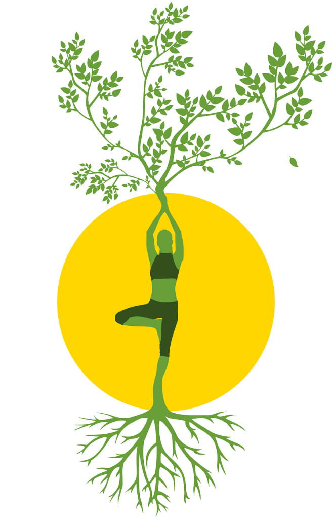silhouette, women, tree, tree of life, yoga, roots, grow healthy