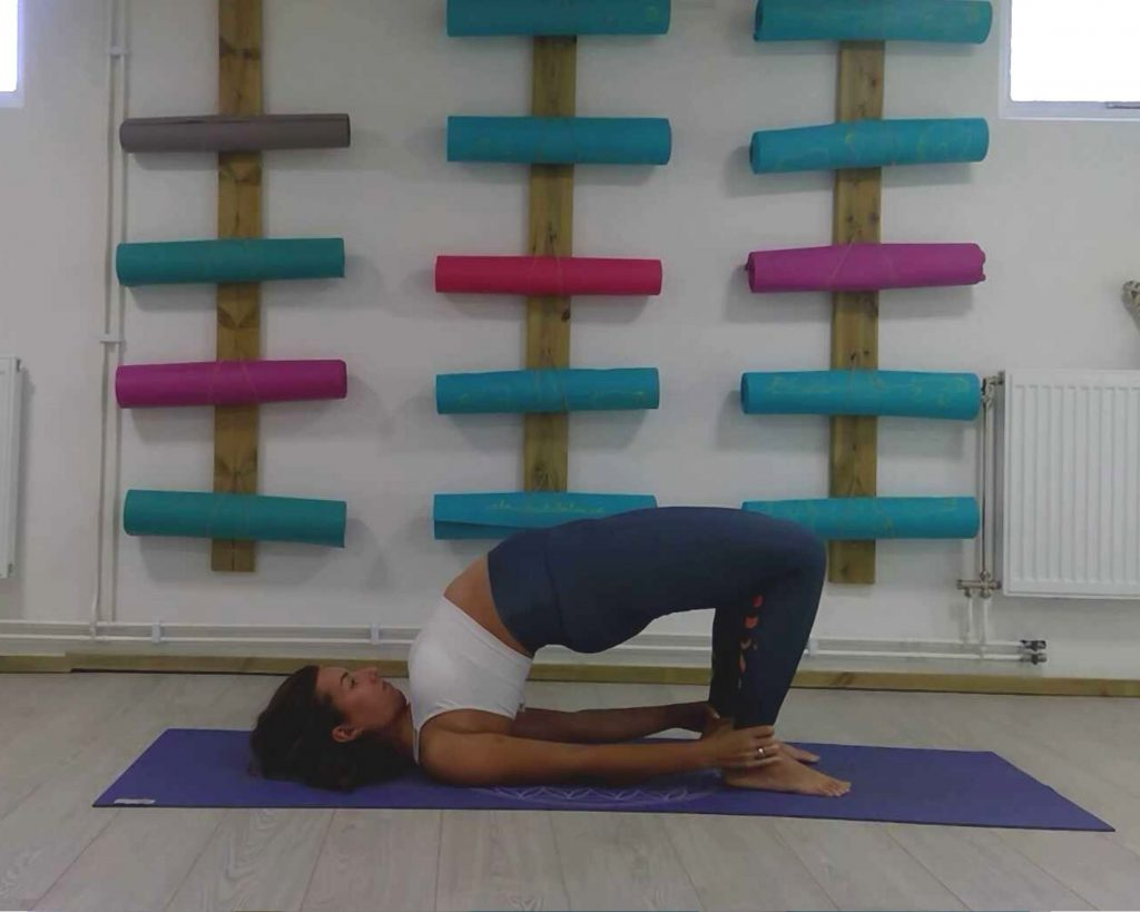 Bridge pose, poses for throat chakra, vishuddha yoga