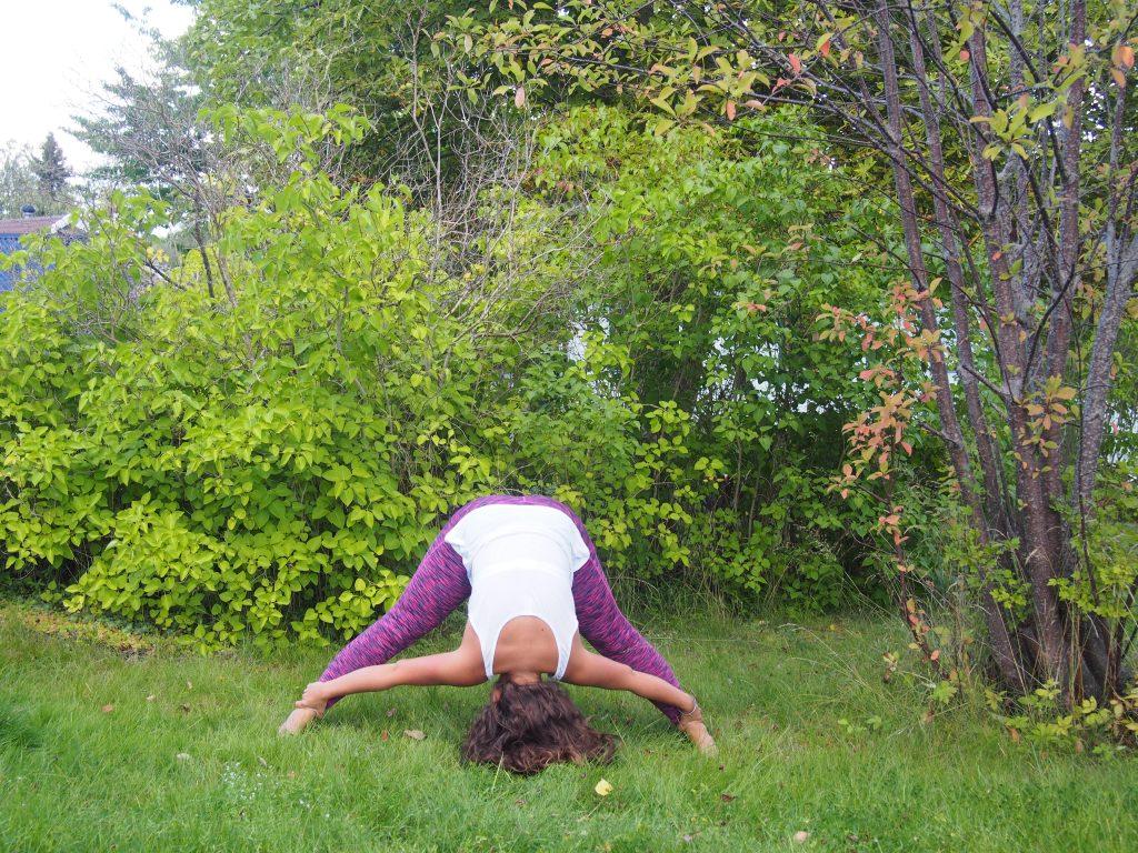 Wide Legged Forward Bend, Prasarita Padottanasana, third eye chakra, yoga for third eye, yoga for intuition